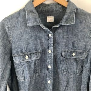 J Crew Chambray Perfect Shirt Fitted L Blue